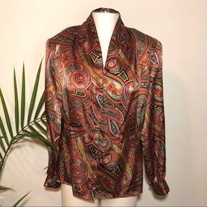 Vintage Silk Look Button Up Blouse Top